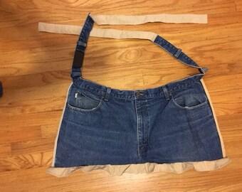 Repurposed denim jean half apron with trim (APR4)