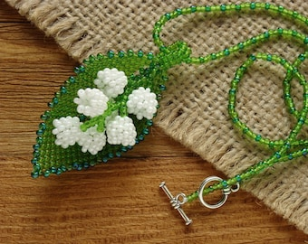 Spring flower jewelry May lily accessories Prom necklace Glass flower necklace Beaded flower pendant Lily of the valley necklace Mothers Day