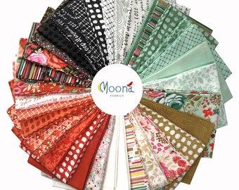 Moda MERAKI Fat Quarter Bundle, Basic Grey Fabric, Shabby Chic, Baby Girl Nursery, Quilting, Modern Farmhouse Quilt, Orange, Aqua, 34 FQs