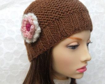 KNITTING PATTERN /BELLE Beanie Pattern/Easy Beanie Pattern/Hat Knit Flat/Easy Beginners Hat/Simple Knit Hat/Easy Hat Pattern/Womans Knit Hat