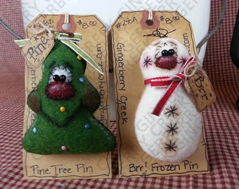 Christmas Nature Pins/Ornies Pattern #143 - Primitive Doll Pattern - Christmas - Pine Tree - Snowman - Pin/Broach
