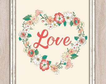 Printable Wall Art Floral Love Heart