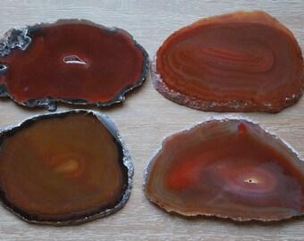 AGATE Coasters  Dark Red Burnt Orange Amber Crystal Geode Slice Choose Gold Silver Copper Edges Holiday Wedding Birthday Gift Present