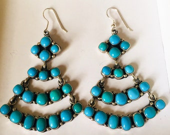 Vintage Navajo Emma Lincoln Signed Sleeping Beauty Turquoise Cluster Chandelier Sterling Silver Earrings