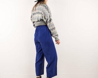 AMAZING Vintage Cobalt Blue Silk Elastic Waist Pants / S / boyfriend pants festival trousers royal blue electric blue