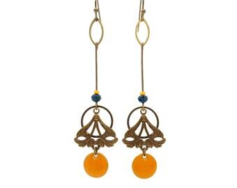 Boucles d'oreilles art nouveau, bronze, laiton nickel free, jaunes, bohèmes, earrings, géométriques, art deco, cadeau, absinthe bijoux