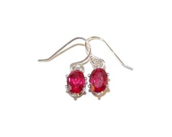 Ruby Earrings, Sterling Silver Earrings With Red Stone, Bridal Earrings