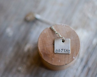 personalized date necklace wedding gift,  hand stamped necklace, personalized birthdate necklace, personalized date necklace