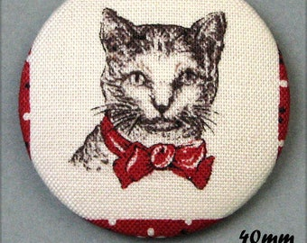 Chic cat - (40-50) - CAT - fabric covered button