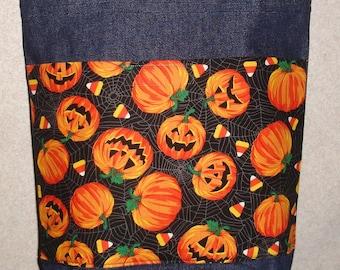 New Medium Handmade Halloween Jack O Lantern Pumpkins Candy Corn Denim tote Bag