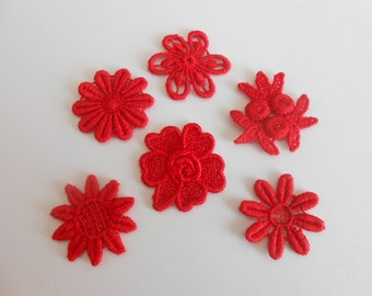 6 flowers in red guipure of 2.5 to 2.7 cm