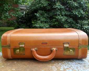 Vintage Leather Suitcase Lincoln Zephyrweight Luggage Storage Wedding Card Holder Light Brown, Fabric Interior, Cowhide Leather Dopp Kit Bag