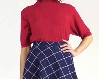 Norton McNaughton Womens 1980s Vintage Mock Neck Short Mutton Half Sleeve Sweater - Medium