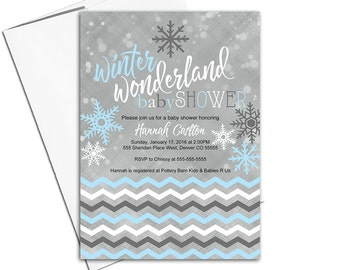 Snowflake baby shower invitations for boys | Christmas baby shower invitations winter | blue and gray | printable or printed - WLP00752