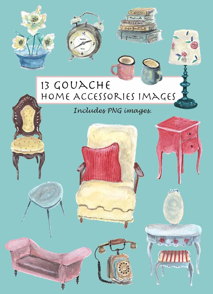 CLIP ART Opaque WatercolorGouache Vintage Home Accessories