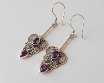 Balinese Sterling Silver genuine amethyst gemstone dangle Earrings / silver 925 / Bali  jewelry / 5.5 cm long