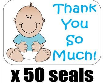 """50 Baby Boy Shower Thank You So Much! Envelope Seals / Labels / Stickers, 1"""" by 1.5"""""""