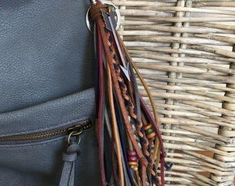 Hippie Fringe Tassel, Keychain with Tassel, Bag Tassel, Tassel Keychain, Handbag Tassel Charm, Bohemian Purse Tassel, Boho Gift  (OOAK29)