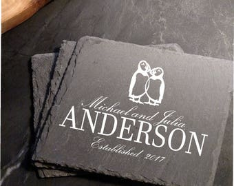 Engraved Kissing Puffins, Personalized Slate Coasters (set of 4)