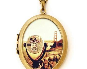 Photo Locket - Bridge View - San Francisco Sightseeing Viewfinder Photo Locket Necklace