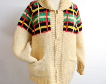 1950s Cream knit cowichan with black green yellow red check / 50s hand knitted wool roll neck zip front cardigan sweater - S M