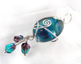 Fluorite pendant in teal blue with silver wire wraping and glass drops // handmade jewelry // OOAK // clarity stone