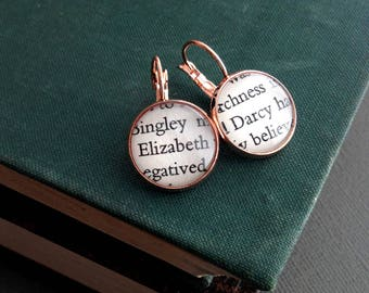 Book Lover Gift, Jane Austen Jewellery, Literature Earrings