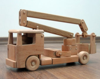 Tilly the utility bucket truck - wooden toy truck