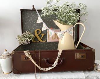 Vintage Suitcase - 1940's Travel Luggage - Wedding Card Holder - Wedding Prop - Vintage Storage - Waterloo Station - Faux Leather Case