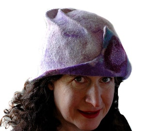 Pale Purple Hat Lavender Wool Cloche made from Merino Wool Womans Fashion Hat Felted Hat Wearable Art Bad Hair Day Hat