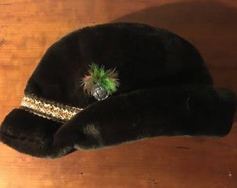 Men's Dark Brown Faux Fur Hat with Ear Flaps XL