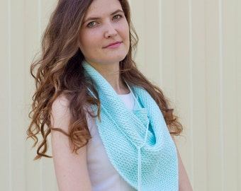 Knit woman mint triangle cotton scarf with tassels Boho crochet scarf Cotton summer shawl Mothers gift Trendy neck wraps Bactus scarf