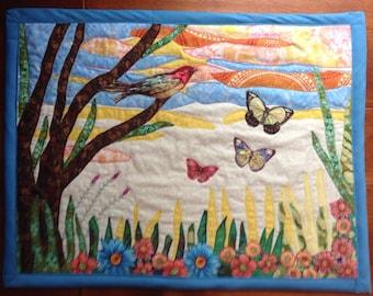 Butterfly and Bird Art Quilt, Nature Quilt, Quilted Wall Hanging, Butterfly Art, Bird Wall Art, Applique Quilt, Nature Lover Art