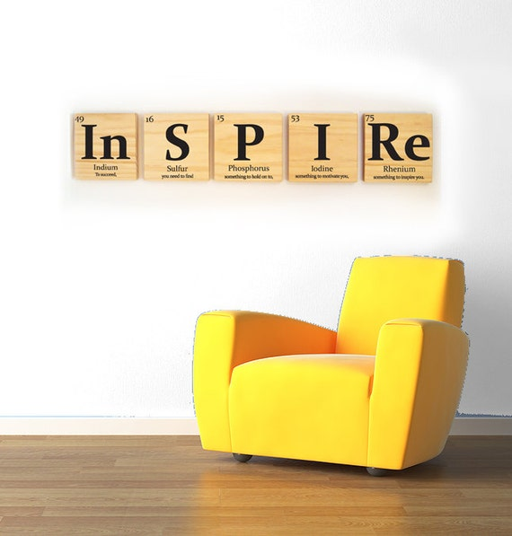 Inspire wooden tile wall art with quote periodic table of urtaz Image collections
