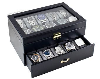 Personalized Black Watch Box - Holds 20 Watches, Watch Case, Watch Organizer, Watch Storage, Engraved, Monogram, Custom Designs