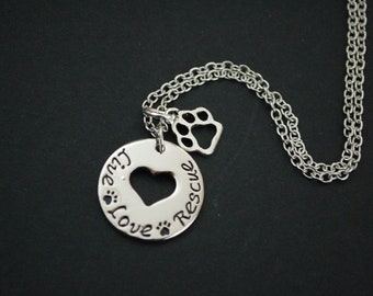 Live Love Rescus paw print Necklace