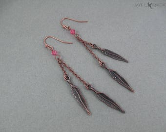 Copper Feather Charm Earrings