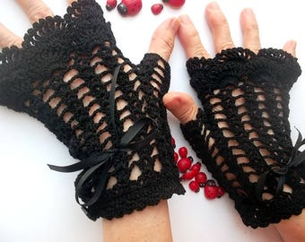 Crocheted Cotton Gloves Women M Ready To Ship Victorian Fingerless Summer Wedding Lace Evening Gothic Opera Bridal Party Black B19