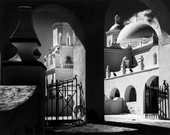 Ansel Adams, original, Mission San Xavier Del Bac, Tucson, Arizona, 1968, black & white, yosemite, fine art picture print poster canvas