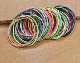 DIY hair elastics,50pcs or 100pcs Elastic Cord,Mixed Color hair elastic cord,hair ties,ponytail holder elastic,pigtail holders 1.5mm