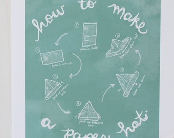 Children's Wall Art Print - How to Make a Paper Hat - Kids Nursery Room Decor