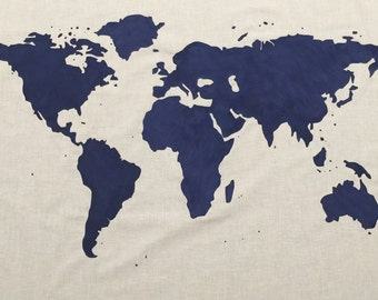 SALE.*.   World Map Wall Tapestry in Navy