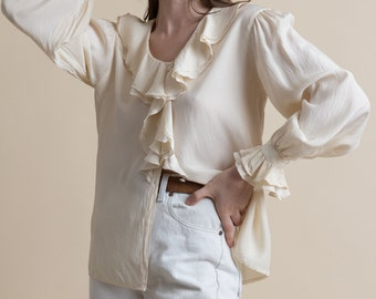 Vintage 90s Cream Silk Ruffled Poet Blouse