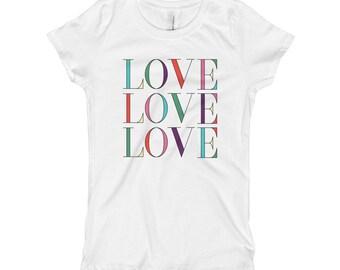 Love Girl's T-Shirt, Cute Girl's T-Shirt, Paris Girl's T-Shirt, Trendy Girl's T-Shirts,