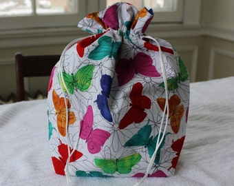 Large Knitting/Crochet Project Drawstring Bag - Colorful Butterflies
