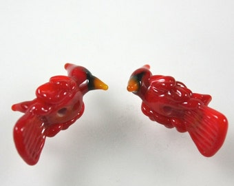 Lampwork Beads-Glass Beads-Cardinal Birds-Miniature Birds-Glass Bird Beads-Handmade Lampwork Beads-Lampwork Glass Beads-Bird Beads