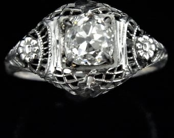 GIA c.1920's 1.05ct Old Mine Cut Diamond 18k White Gold Ring Antique Engagement LAYAWAY AVAILABLE