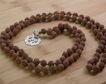 Balinese Om Mala -  prayer bead necklace,  rudraksha beads,  925 sterling silver