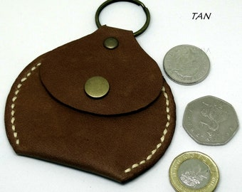 Coin Pouch key fob in Genuine Leather Various colours available,  Hand Made in  the UK