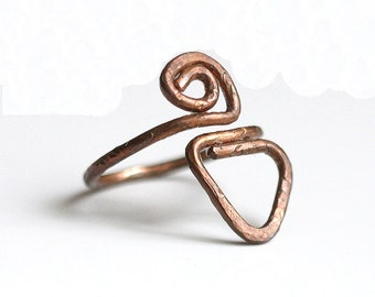 Triangle Scroll Copper Ring, Bold Copper Ring, Rustic Rugged Ring, Copper Wrap Around Ring, Size 6.5 Ring, Adjustable Ring